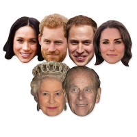 Star Cutouts Six Pack Masks of Royal Couples Fancy Dress Accessory