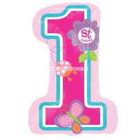 Sweet Pink Girls 1st Birthday Supershape Helium Quality Balloon 28'' Foil