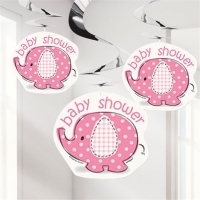 Girl's Baby Shower Umbrellaphants Pink Party Hanging Swirl Decorations