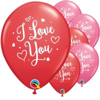 Valentines Day I Love You Hearts Script Latex Balloons 25 Pack