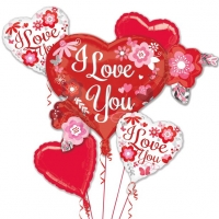 Valentines Day I Love You Flowers Balloon Bouquet