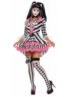 Ladies Halloween Adult Harlequin Clown Ring Mistress Costume 10-14