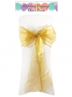 6 Gold Organza Chair Sashes Wedding Celebration Decorations