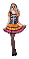 Ladies Halloween Fancy Dress Day Of The Dead Rainbow Costume One Size 10-14