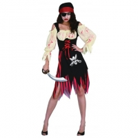 Ladies Halloween Zombie Wench  Fancy Dress Costume 10-14