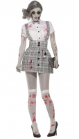 Ladies Halloween Sexy Zombie School Girl Fancy Dress Costume 10-14