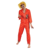 Mens Halloween Fancy Dress Costume Zombie Prisoner