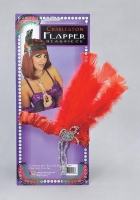 1920's Fancy Dress Red Gangster Flapper Headband with Feathers