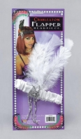 1920's Fancy Dress White Gangster Flapper Headband with Feathers