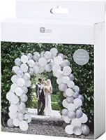 White and Silver Wedding Balloon Arch Kit