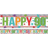 Holographic Happy 90th Birthday Multi Coloured Foil Banner - 2.7m