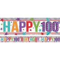 Holographic Happy 100th Birthday Multi-Coloured Foil Banner Party Decoration
