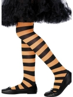 Black and Orange Striped Tights - Girls