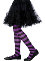 Black and Purple Striped Tights - Girls
