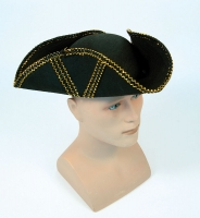 Black Pirate Style Tricorn Hat