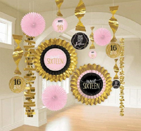 Rose gold and pink Sweet 16 Room Decorating Kit