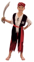 Boys Pirate Costume 4 Piece Red & Black