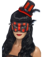 Burlesque Mini Top Hat & eyemask - red/black