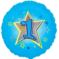 Boys Blue Star's 1st Birthday Helium Quality Foil Balloon 18''