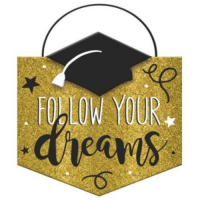 Graduation Gold glitter' follow your dreams' hanging decoration