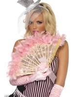 French Baby Pink Feather Fan