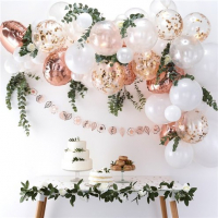 Rose gold and white Balloon Arch - 70 mixed Balloons