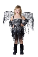 Girls Spider Fairy Black & Silver Costume