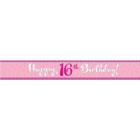 Happy 16th birthday foil banner party decoration 2.74cm