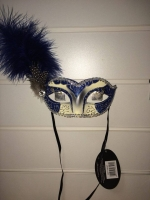 Deluxe Blue and cream glitter feather Masquerade Eye Mask