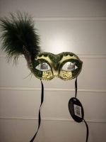 Deluxe green and cream glitter feather Masquerade Eye Mask