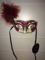 Deluxe red and cream glitter feather Masquerade Eye Mask