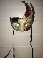 Deluxe red and black, patterned detail Masquerade Eye Mask