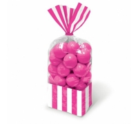 Pink striped party bags 10 pack with twist ties