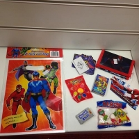 Super hero party filled goodie bags