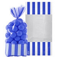 Blue striped party bags 10 pack with twist ties
