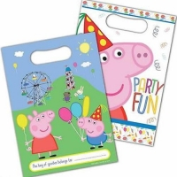 Peppa pig plastic party loot bags pack of 8
