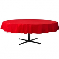 Valentine's Day Red Round Plastic Table Cover - 2.1m