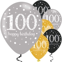 "Happy 100th Birthday Party Gold Mix Sparkling Celebration Balloons - 11"" Latex"