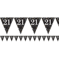 Sparkling Celebrations 21st Birthday Flag Banner Party Decoration 4m Bunting