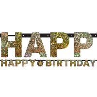 Sparkling Celebration Happy Birthday Prismatic Letter Banner 2.1m