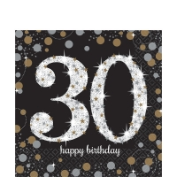 Sparkling Celebration Happy Birthday 30th Pack of 16- 2 Ply Napkins