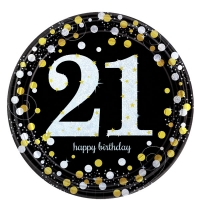 Sparkling Celebration Happy Birthday 21st Pack of 8 - 23cm Paper Party Plates