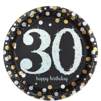 Sparkling Celebration Happy Birthday 30th Pack of 8 - 23cm Paper Party Plates