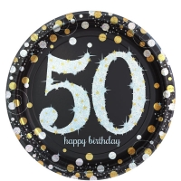Sparkling Celebration Happy Birthday Age 50 Pack of 8 - 23cm Paper Party Plates