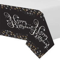 Sparkling Celebration Happy Birthday Plastic Table cover Party Decoration