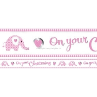 Girls Pink Christening Religious Occasions foil Banner