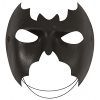 Deluxe half face Batman black fancy dress mask