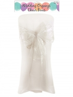 6 White Organza Chair Sashes Wedding Celebration Decorations