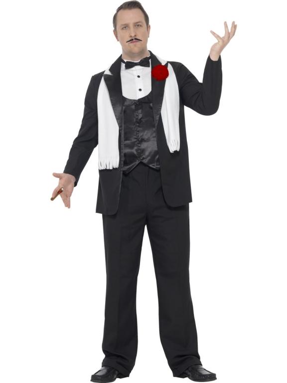 Mens Plus Size Black 1920s Gangster Fancy Dress Costume