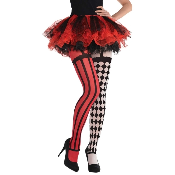 c7f871bcf8e8f Fancy Dress Halloween Red And Black Circus Freakshow Adult Tights Click  Here for Larger Image